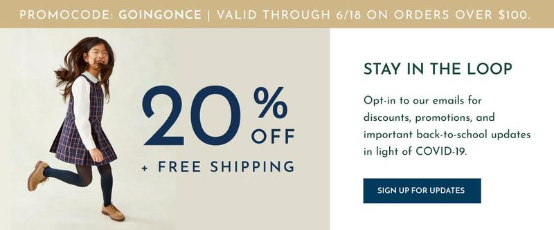 20 percent discount on student uniforms through June 18, 2020 Featured Photo