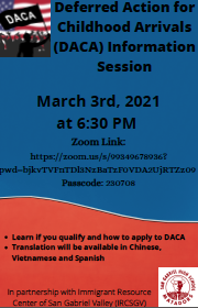 DACA Zoom Meeting Flyer