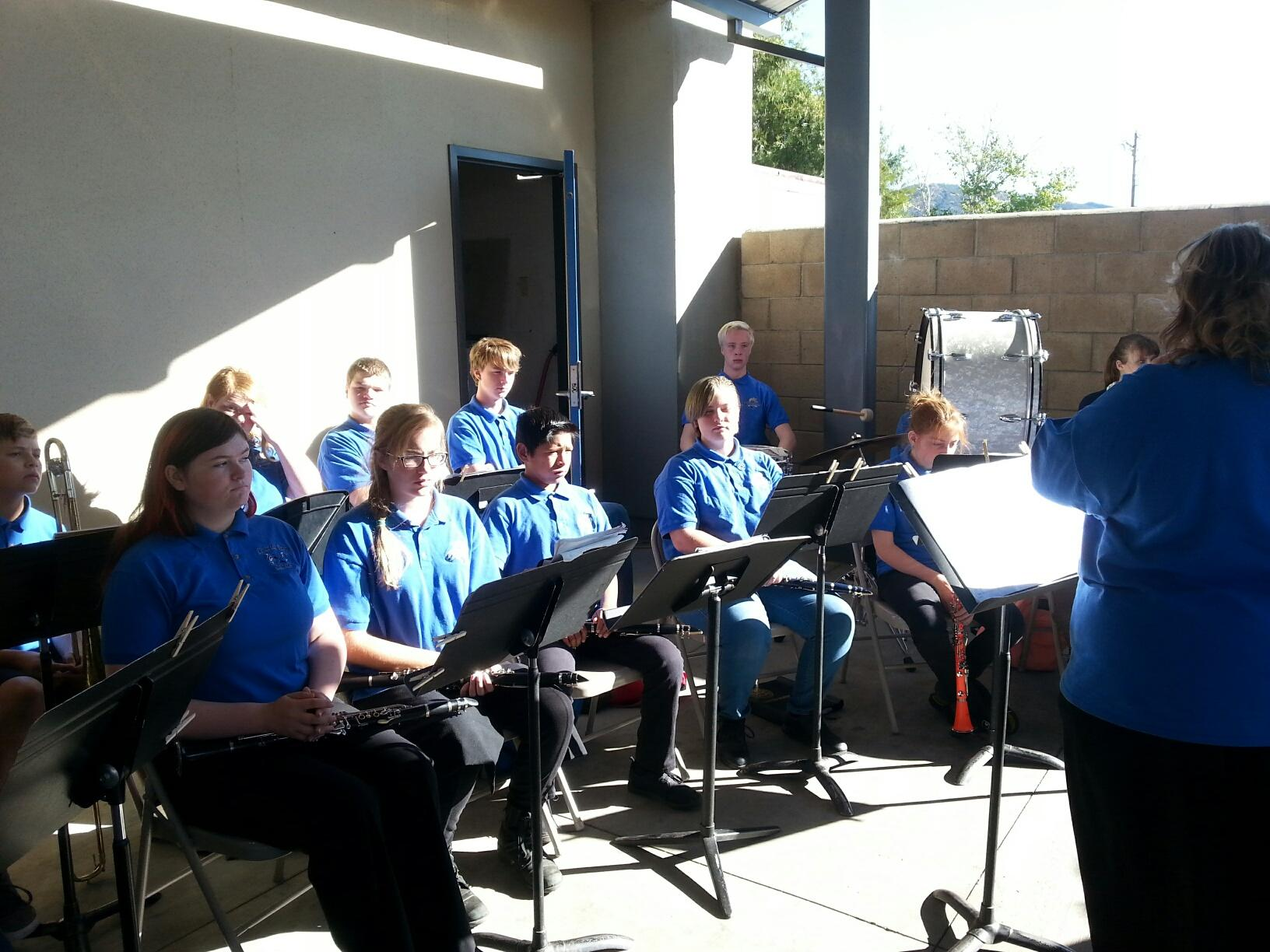 Band students performing