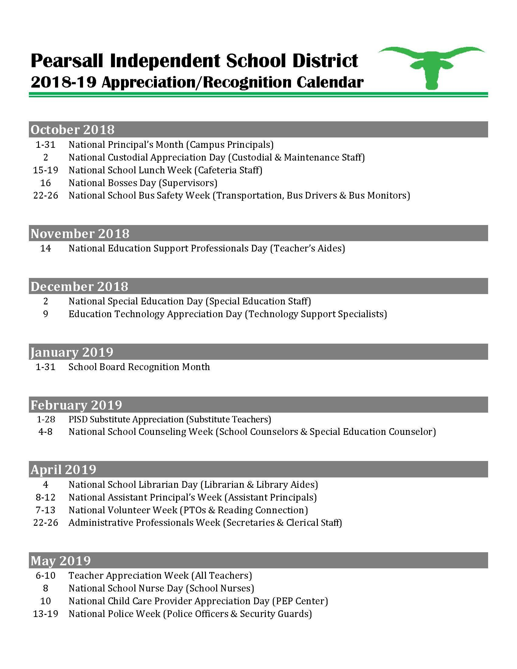 Appreciation Day Calendar 2019 Employee Appreciation/Recognition Calendar – Human Resources