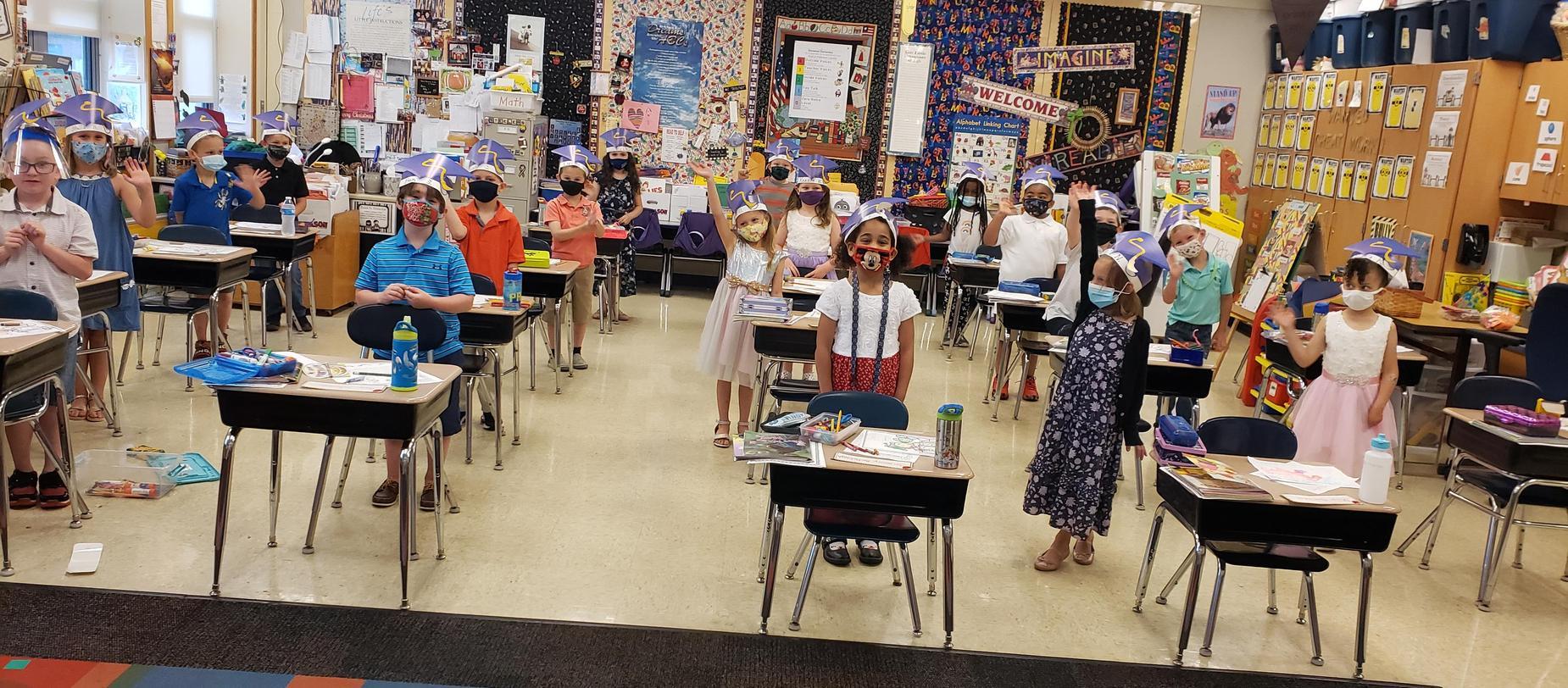 kindergarten students at their desks