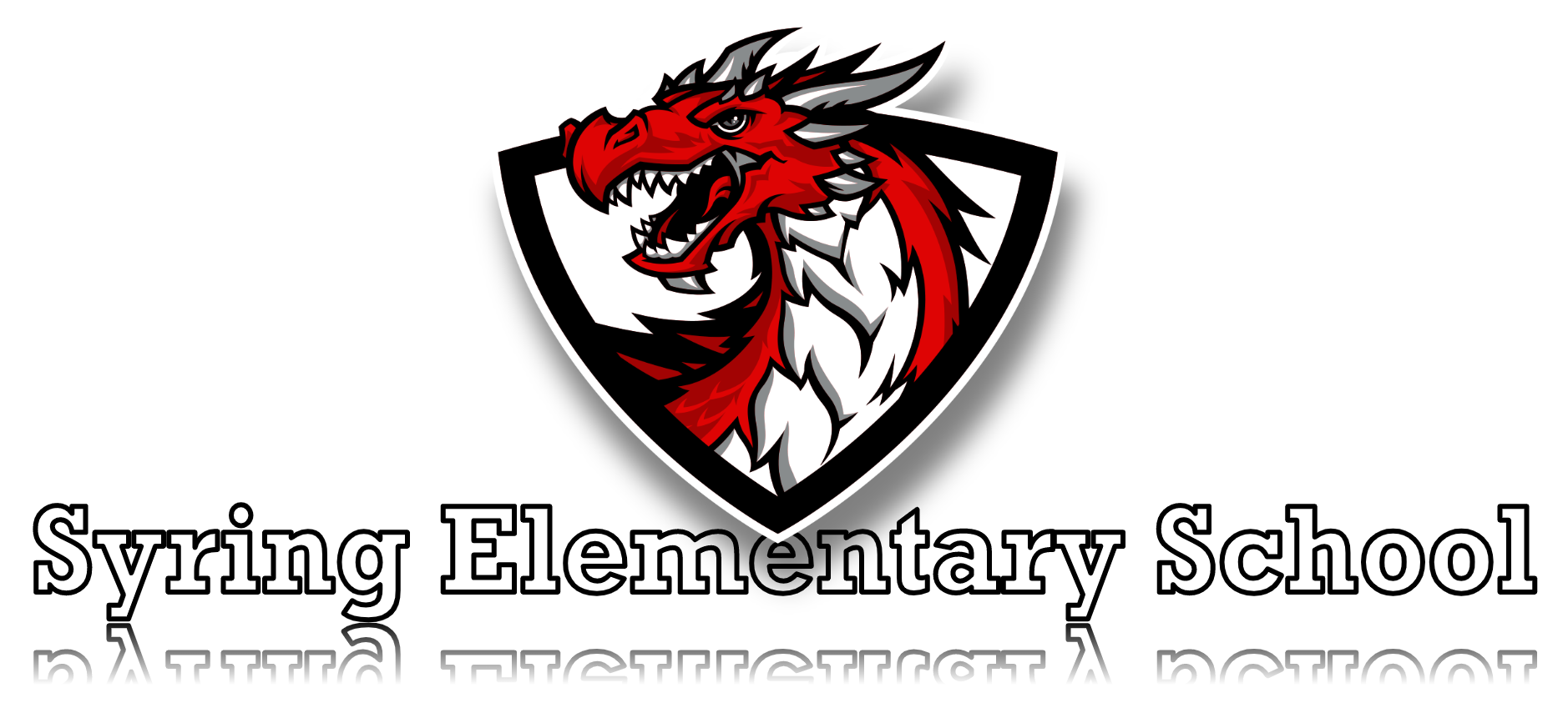 Dragon mascot with Syring Elementary School title