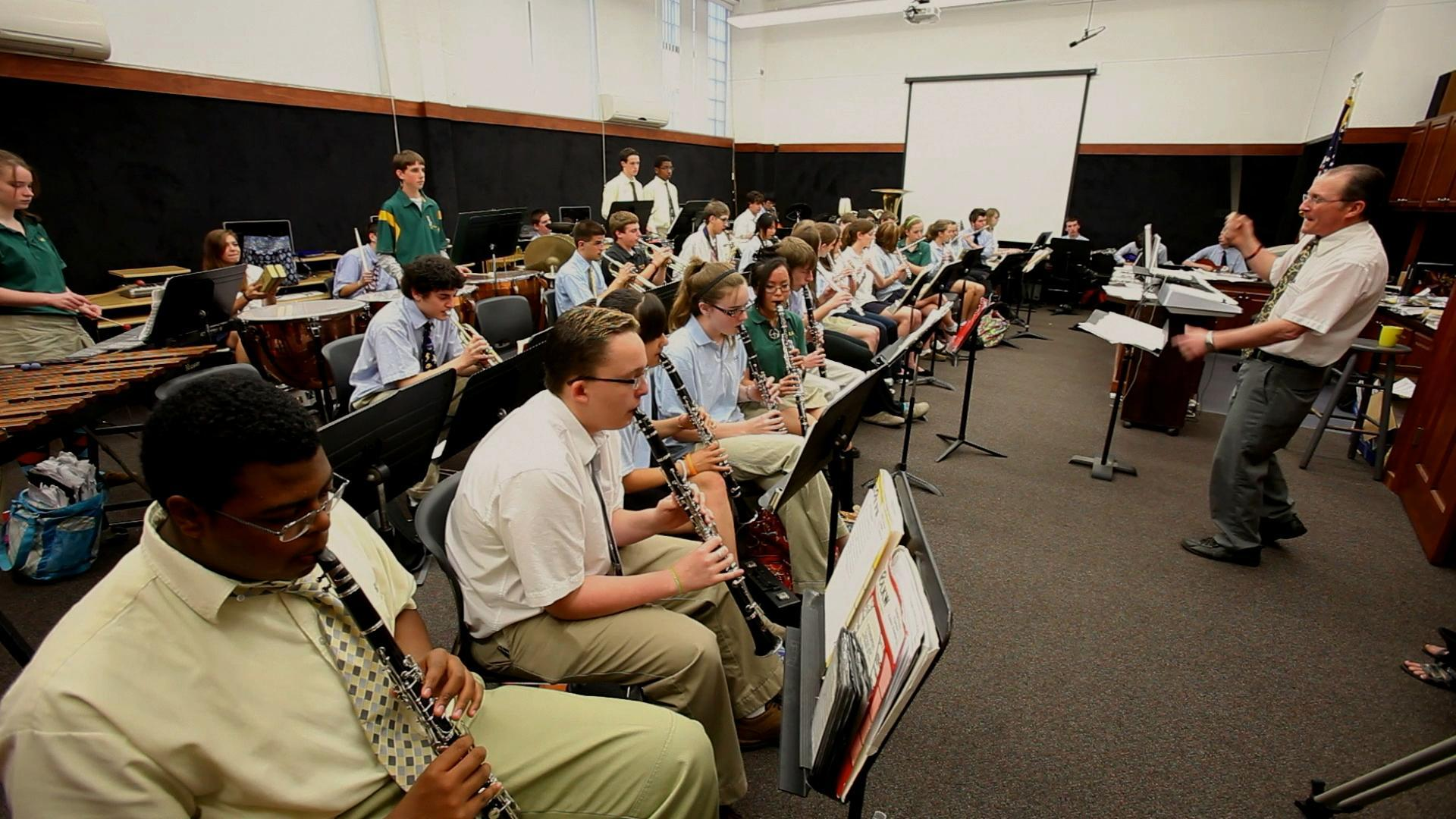 Concert Band practices in band room