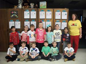 Kindergarten students dressed up for the 100th day of school.