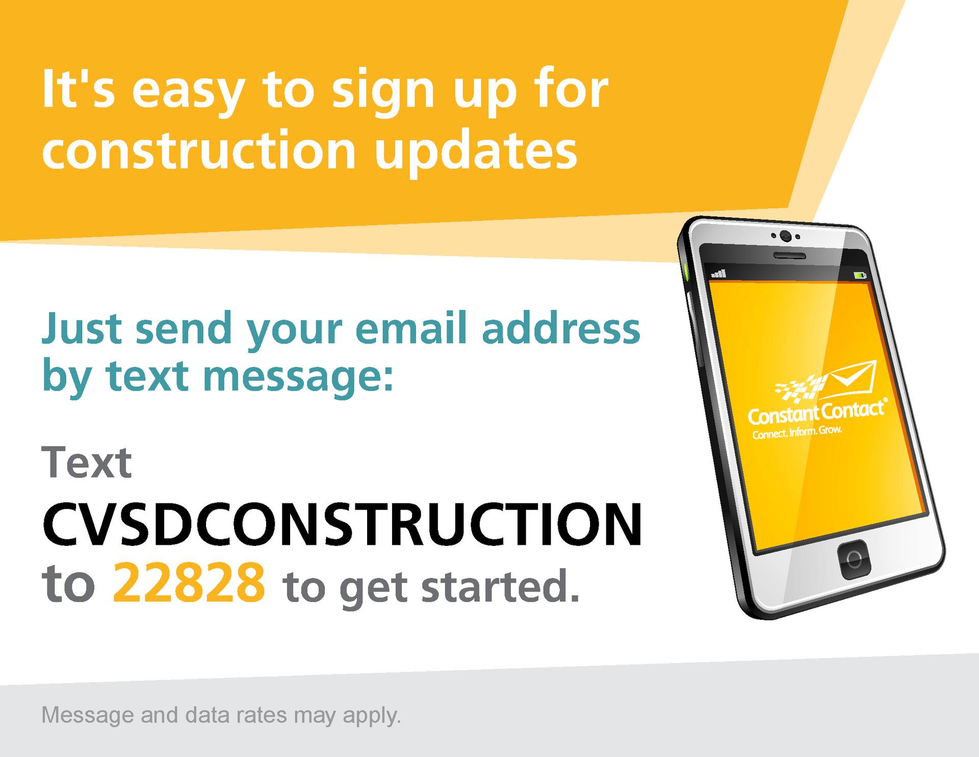 Text CVSDCONSTRUCTION to 22828