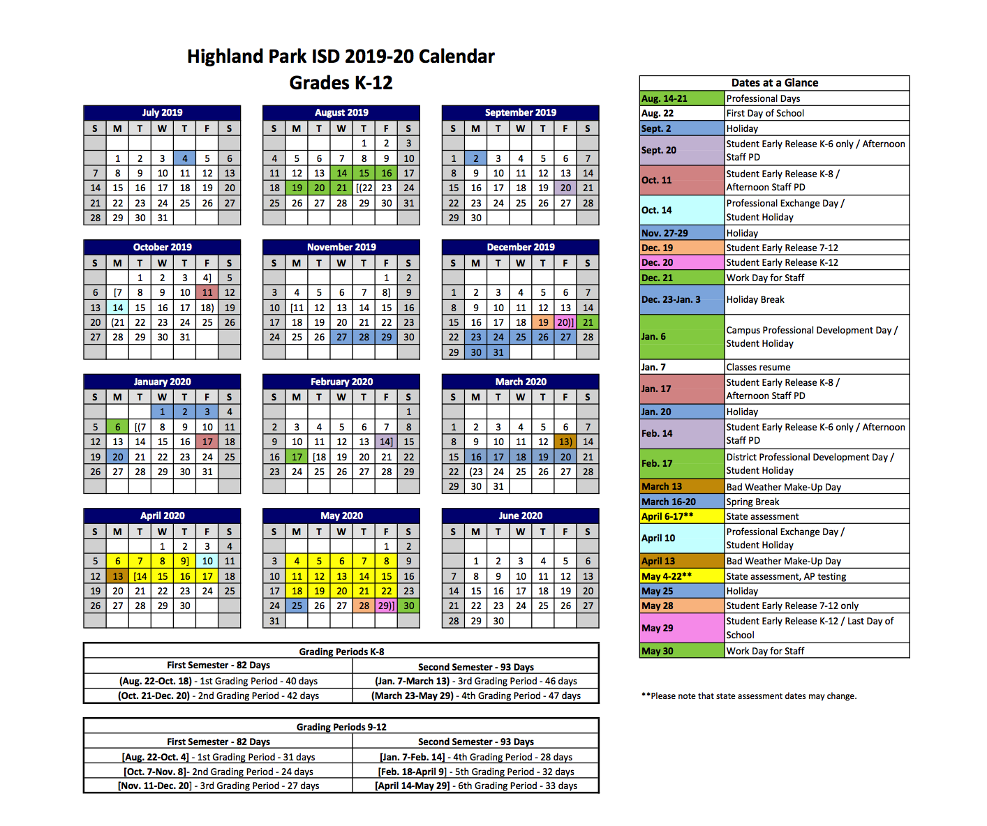 2020 Calendar Please 2019 2020 HPISD Calendar – Calendars – Highland Park Independent