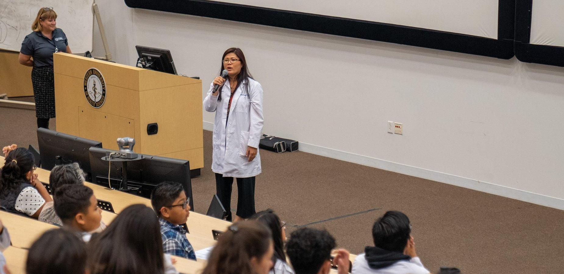 Dr Ramos-beal Speaking to students