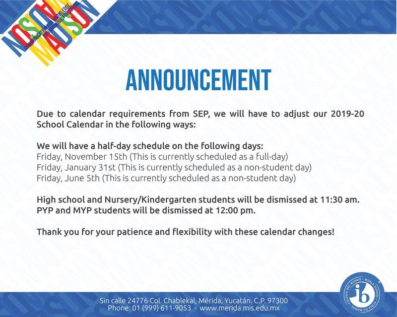 School Calendar Changes Featured Photo