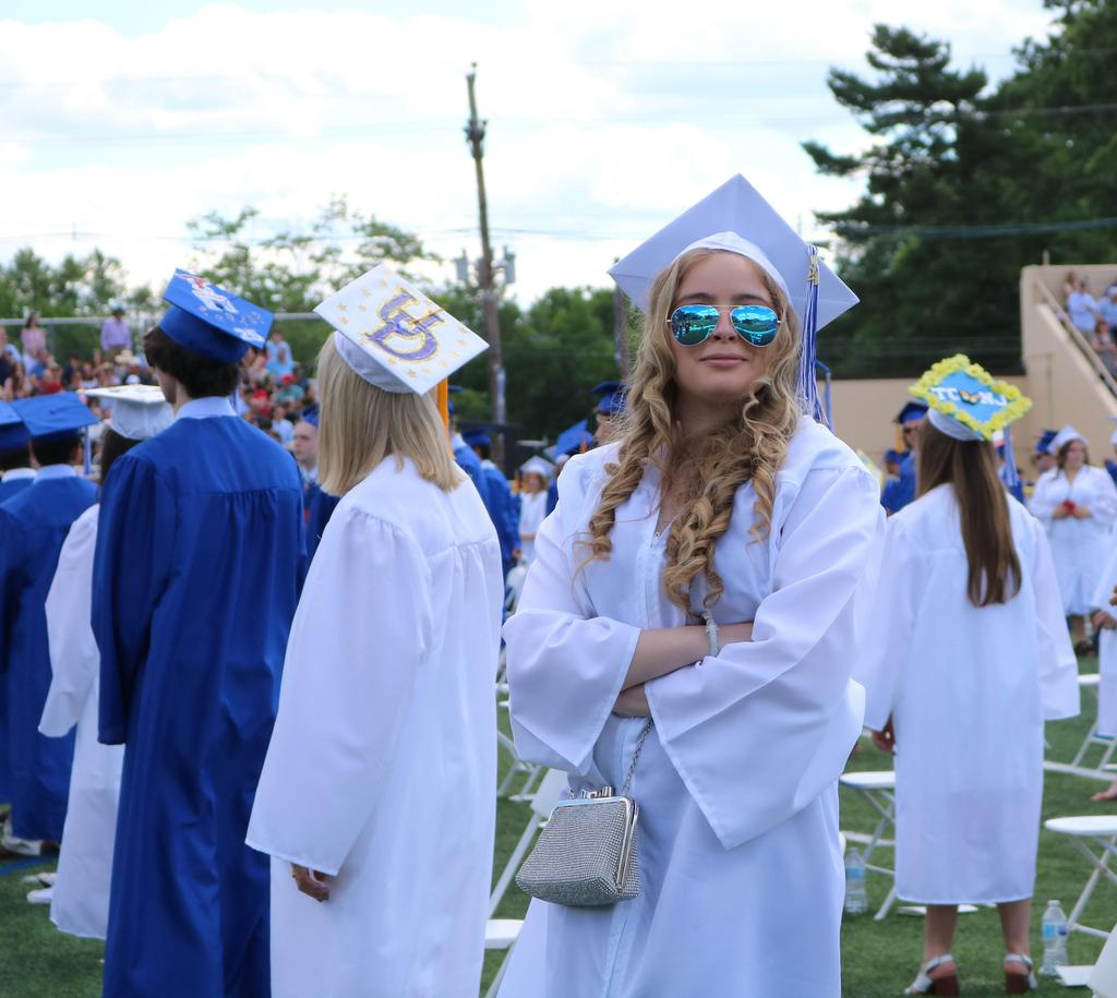 Photo of WHS 12th graders processing at start of commencement ceremony.