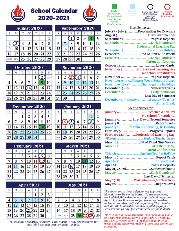 updated CCSD calendar