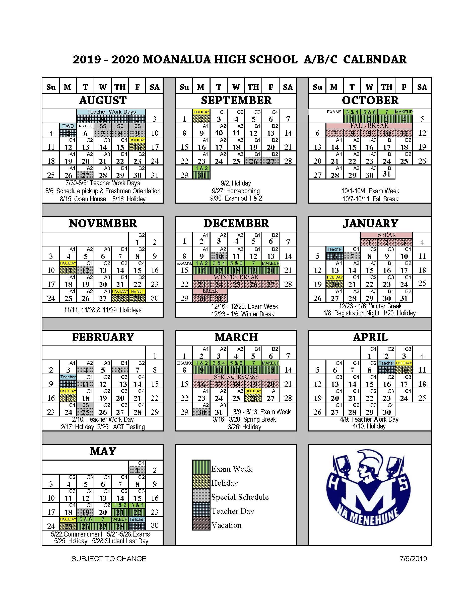 School Year Calendar (A-B-C) – Parents – Moanalua High School