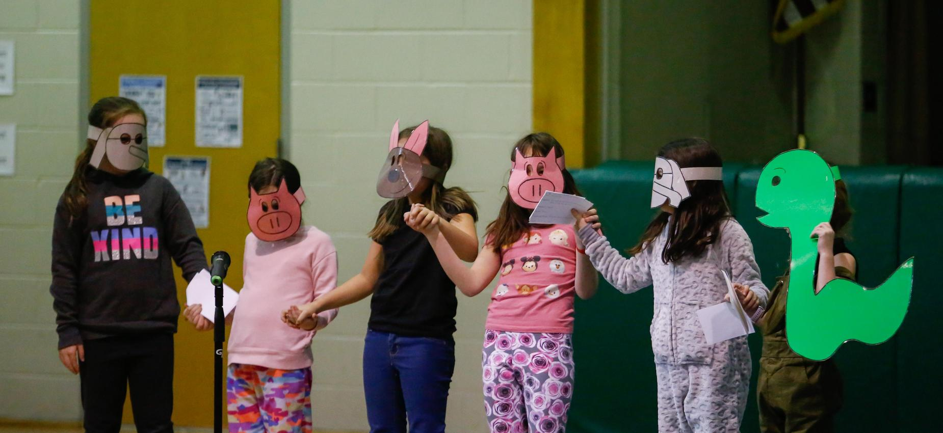 Six students performing a skit
