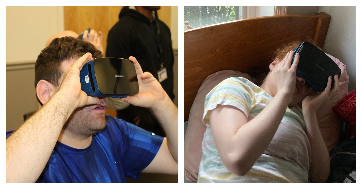 Man and young lady using virtual reality headsets
