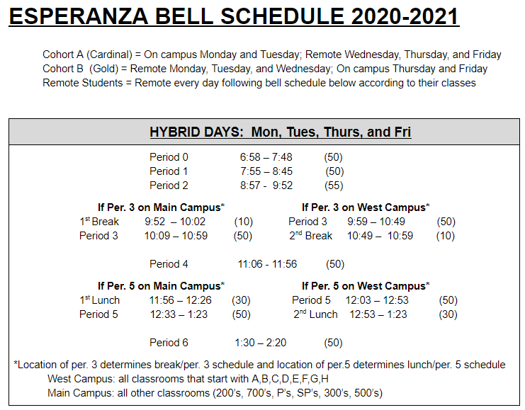 EHS Hybrid Bell Schedules Thumbnail Image