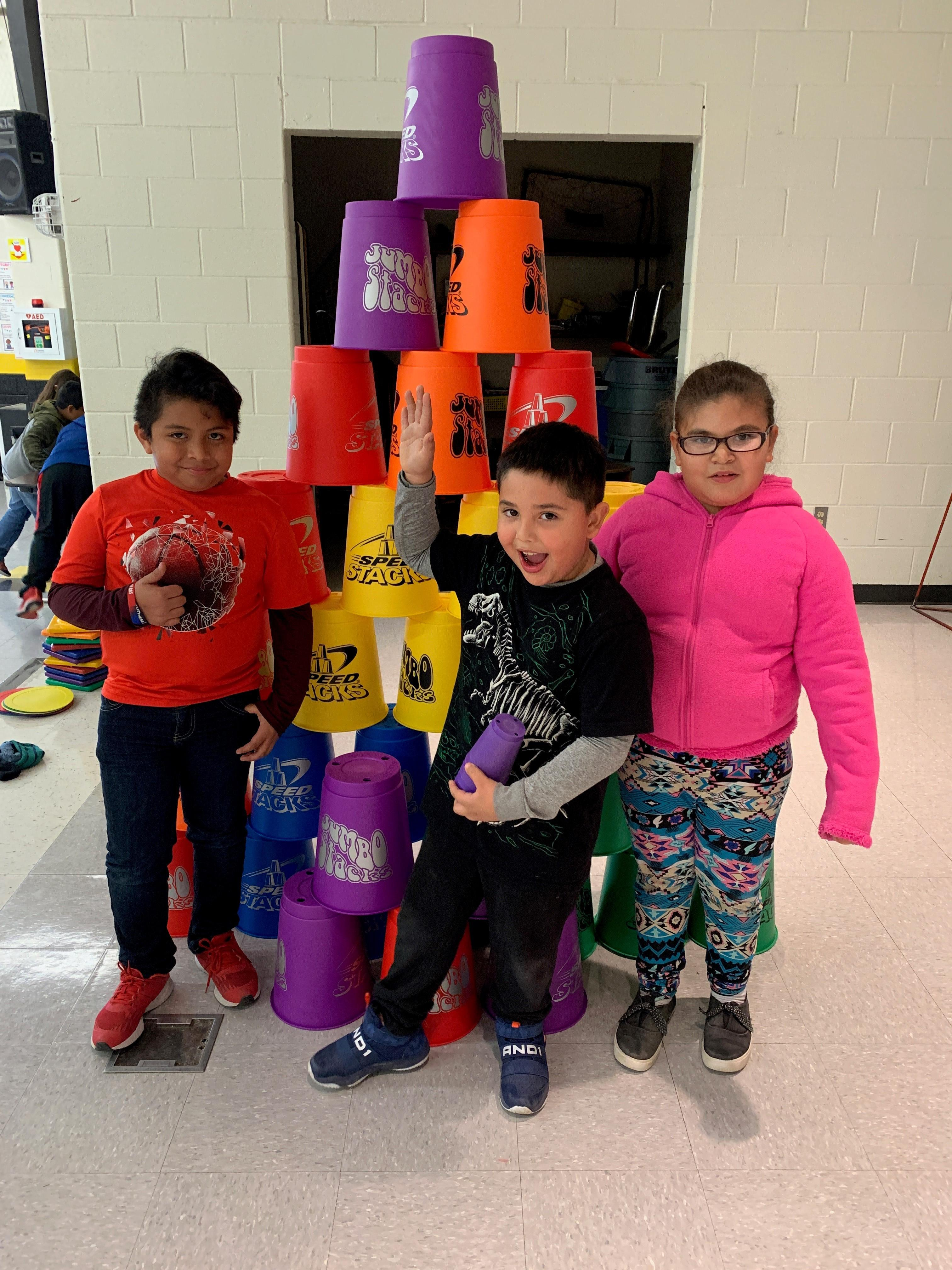 Alvarez Elementary Cupstacking Fun