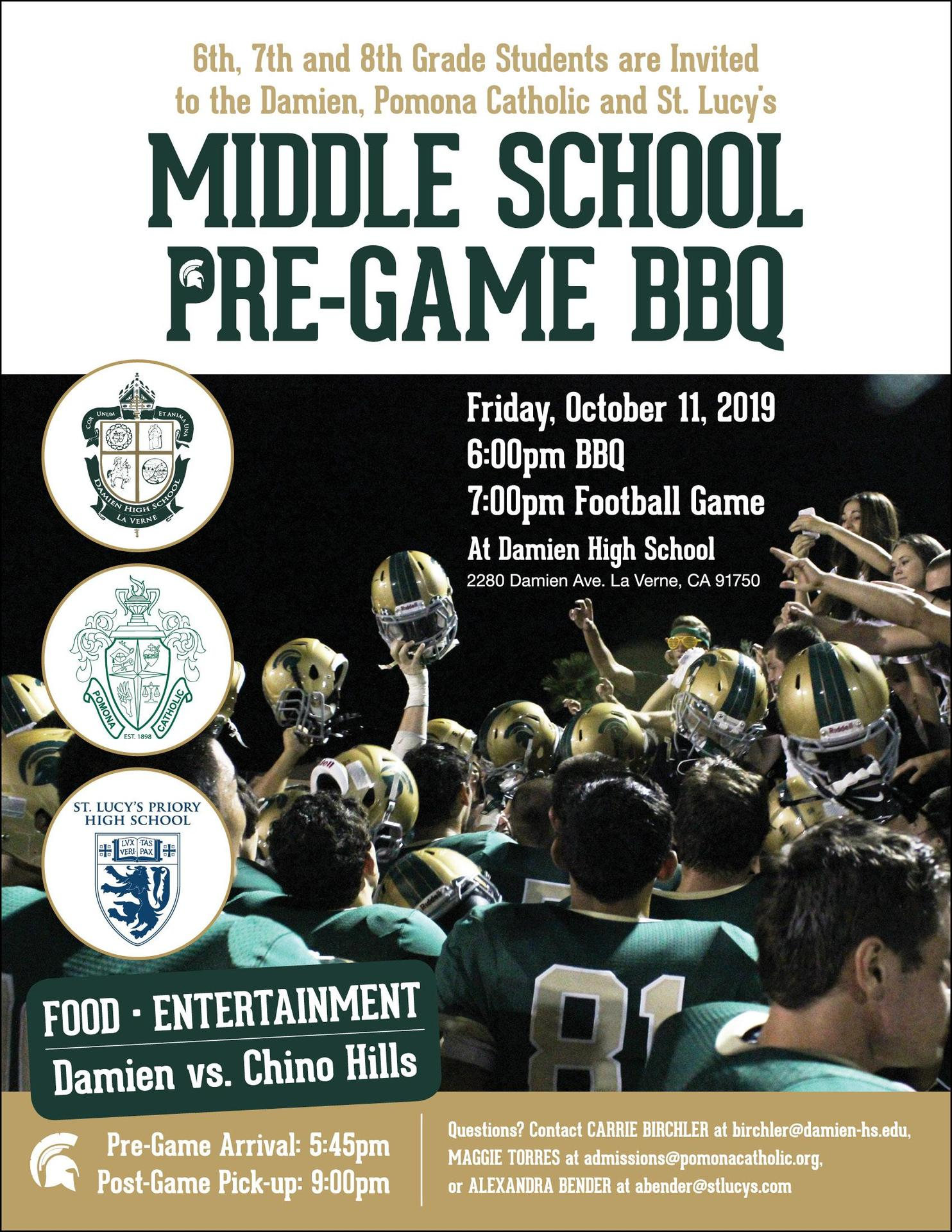 2019 Middle School Pre-game BBQ