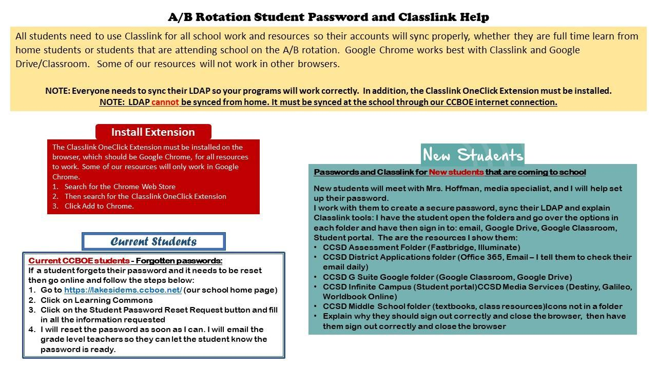 A/B Rotation Password and Classlink information