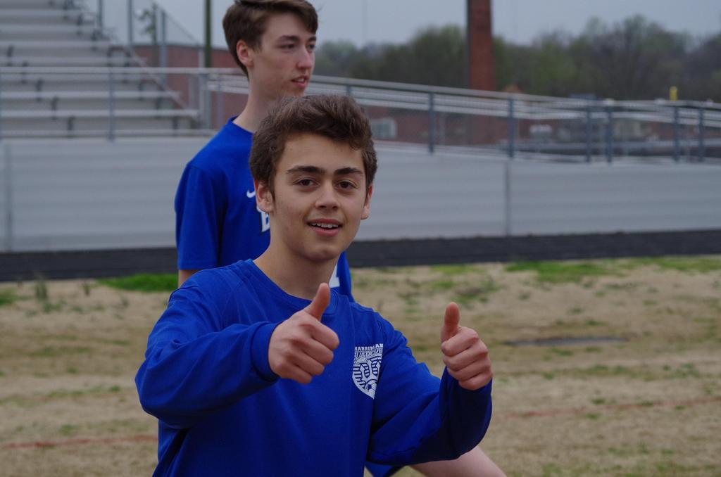 2018 HHS Soccer - Ibarra with thumbs up, Moore in background