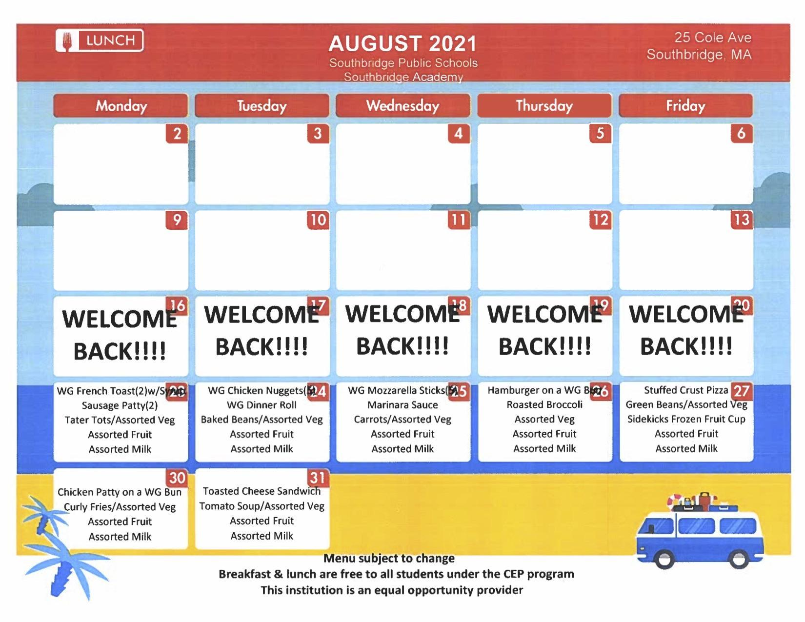 August menu for Southbridge Academy. This can also be found as a PDF on the same page