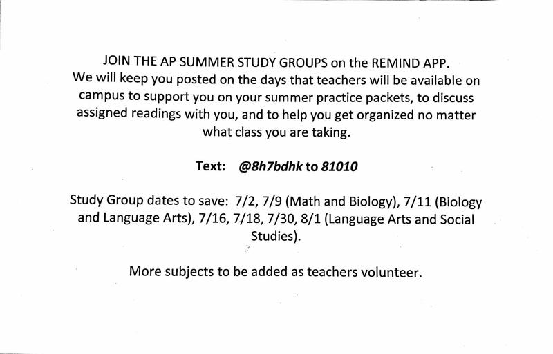 AP Summer Study Groups and Remind APP Featured Photo