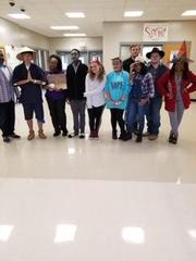 Students who dressed up for Halloween.