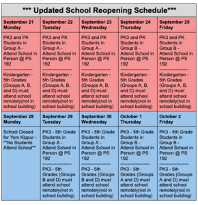 PS 192 Reopening Schedule in English