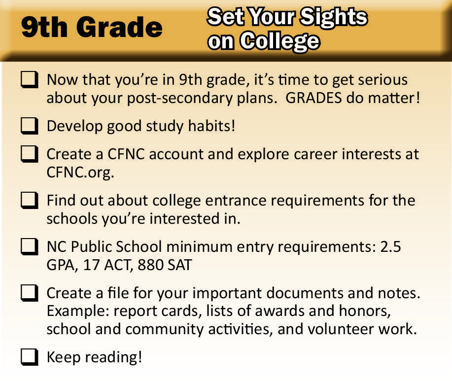 9th Grade Checklist
