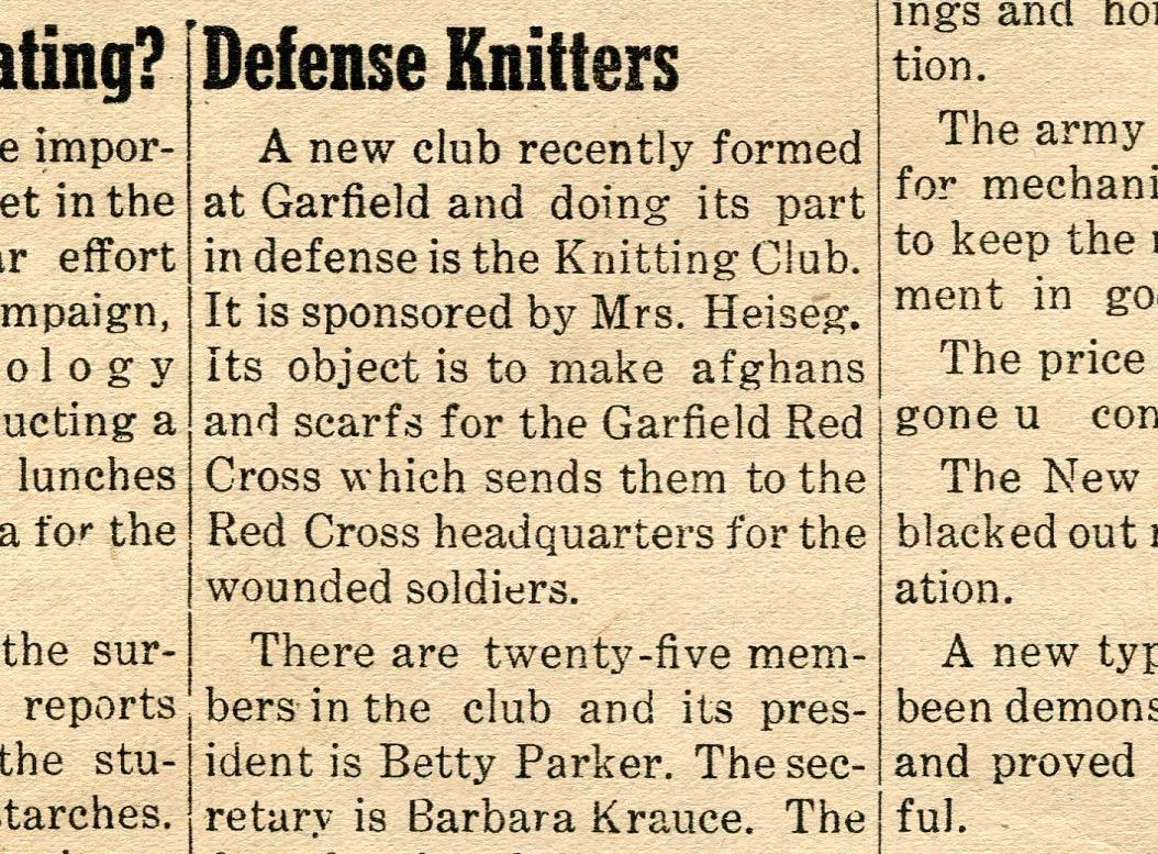 School Newspaper 1940s  Defense knitting