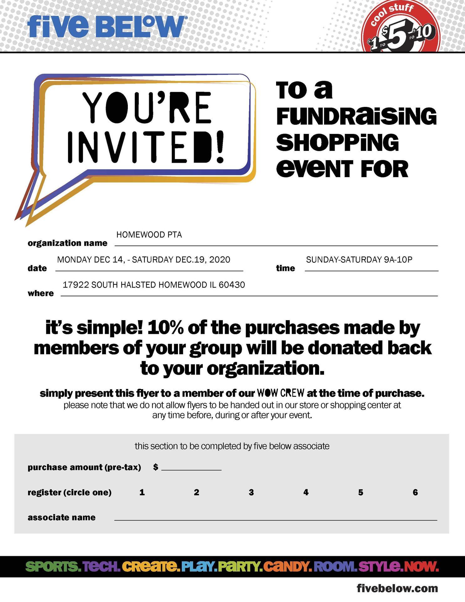 PTA 5 Below Fundraiser
