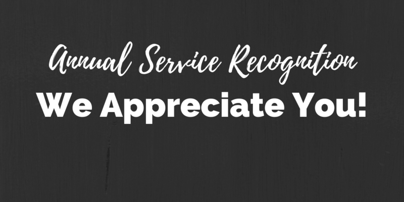 Annual Service Recognition for our Great Employees - Thank you for your Service! Thumbnail Image