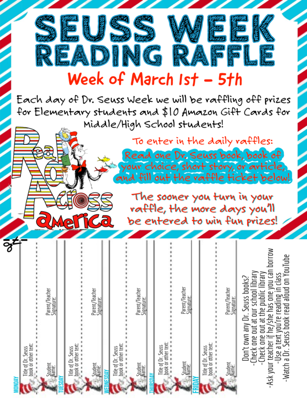 SEUSS WEEK READING RAFFLE! Thumbnail Image