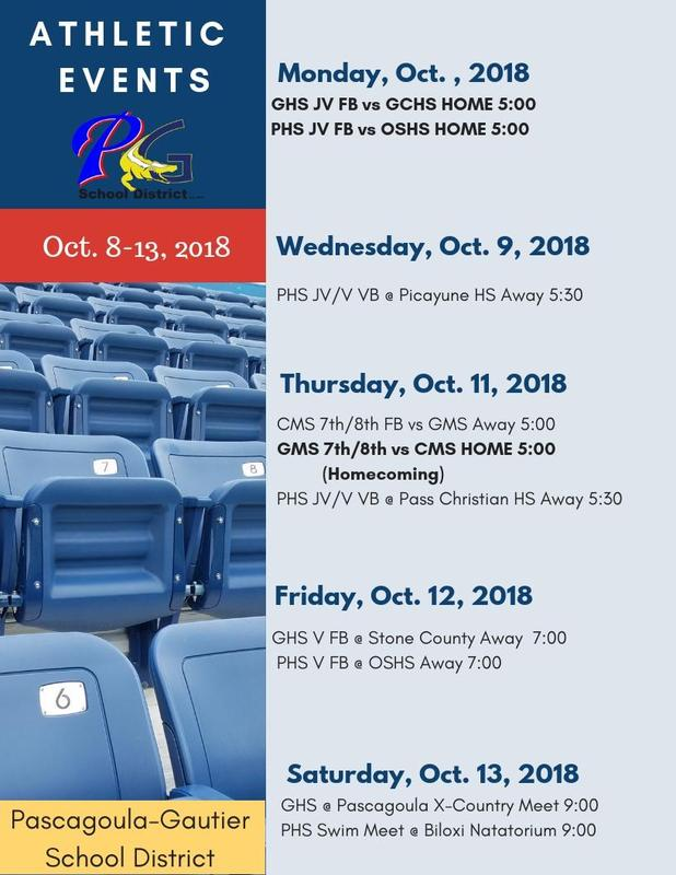 Athletic Events for Week of October 8, 2018