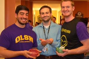 photo of three teachers at empty bowls event