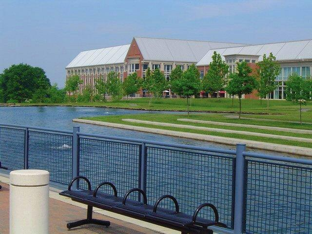 A view of the Merrill Lynch Campus with its lake in the foreground