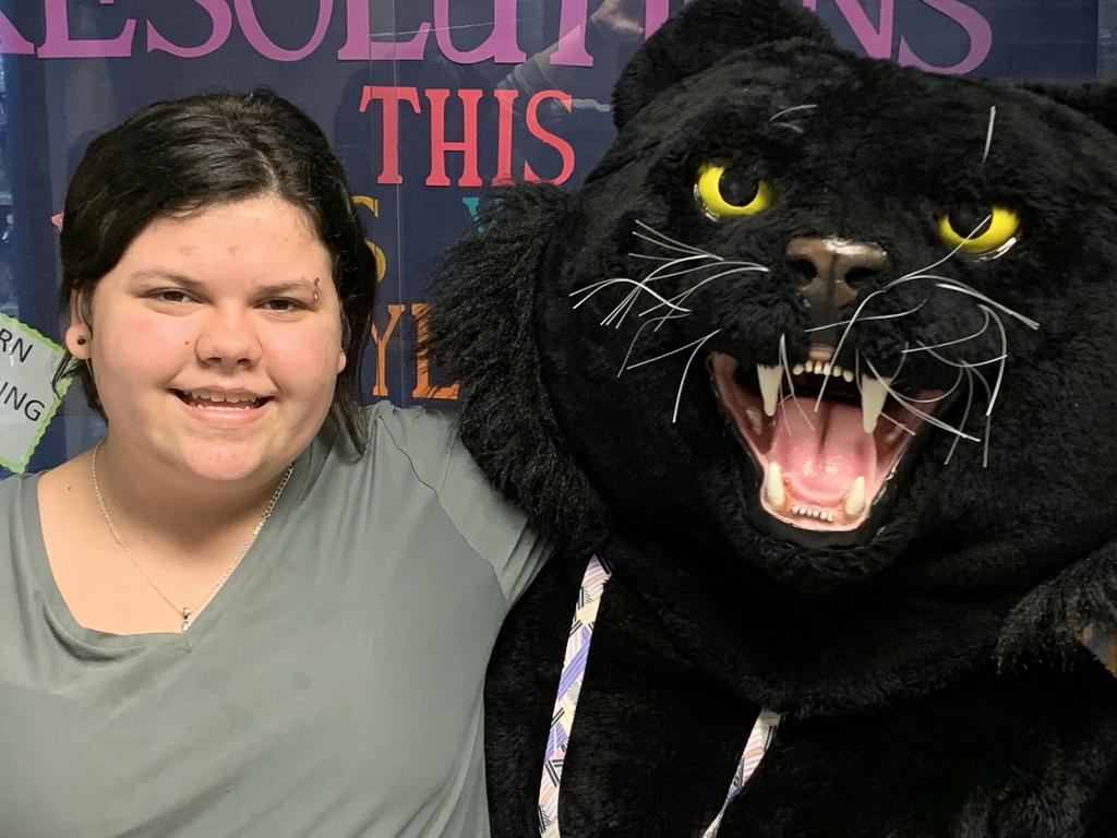NMS student with the Panther.