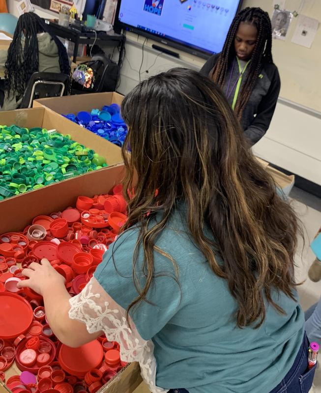 Students select bottle caps for murals