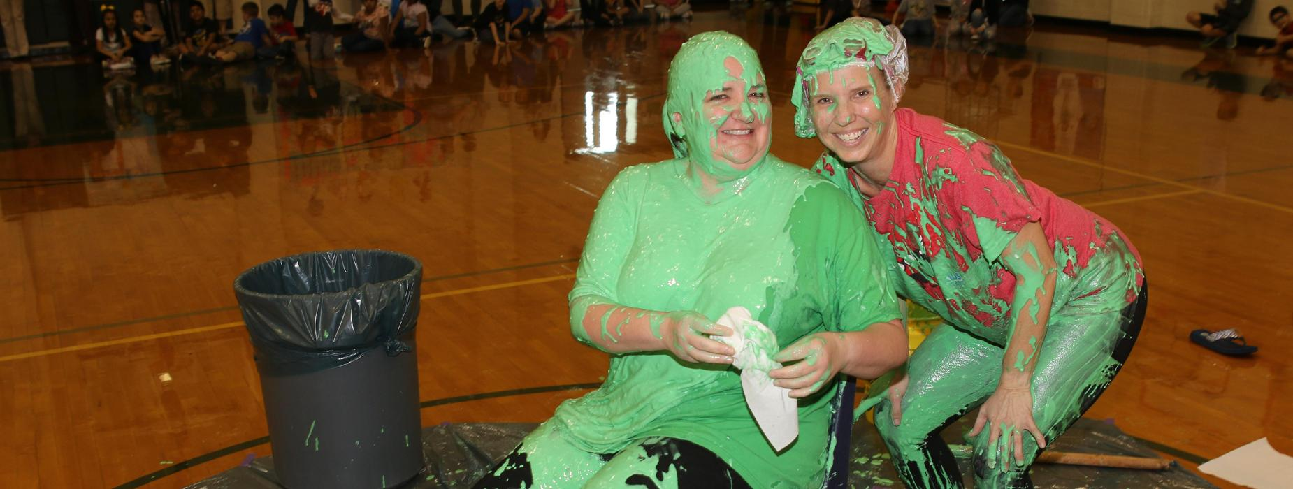 Two staff members after being slimed.