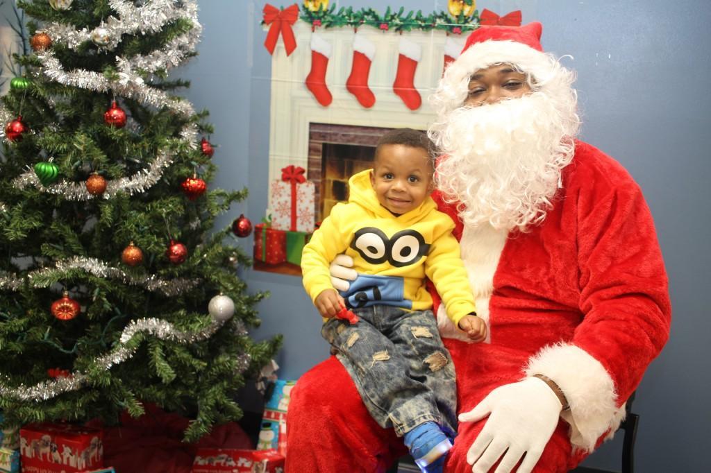 Smiling boy with Santa