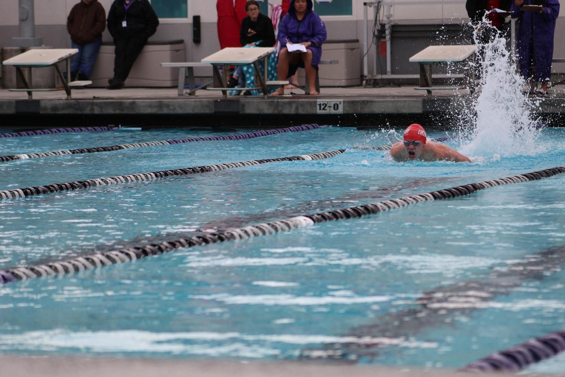 Swimmers competing at Madera South