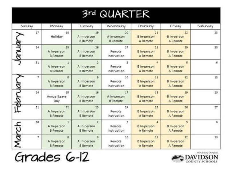 3rd Quarter Calendar