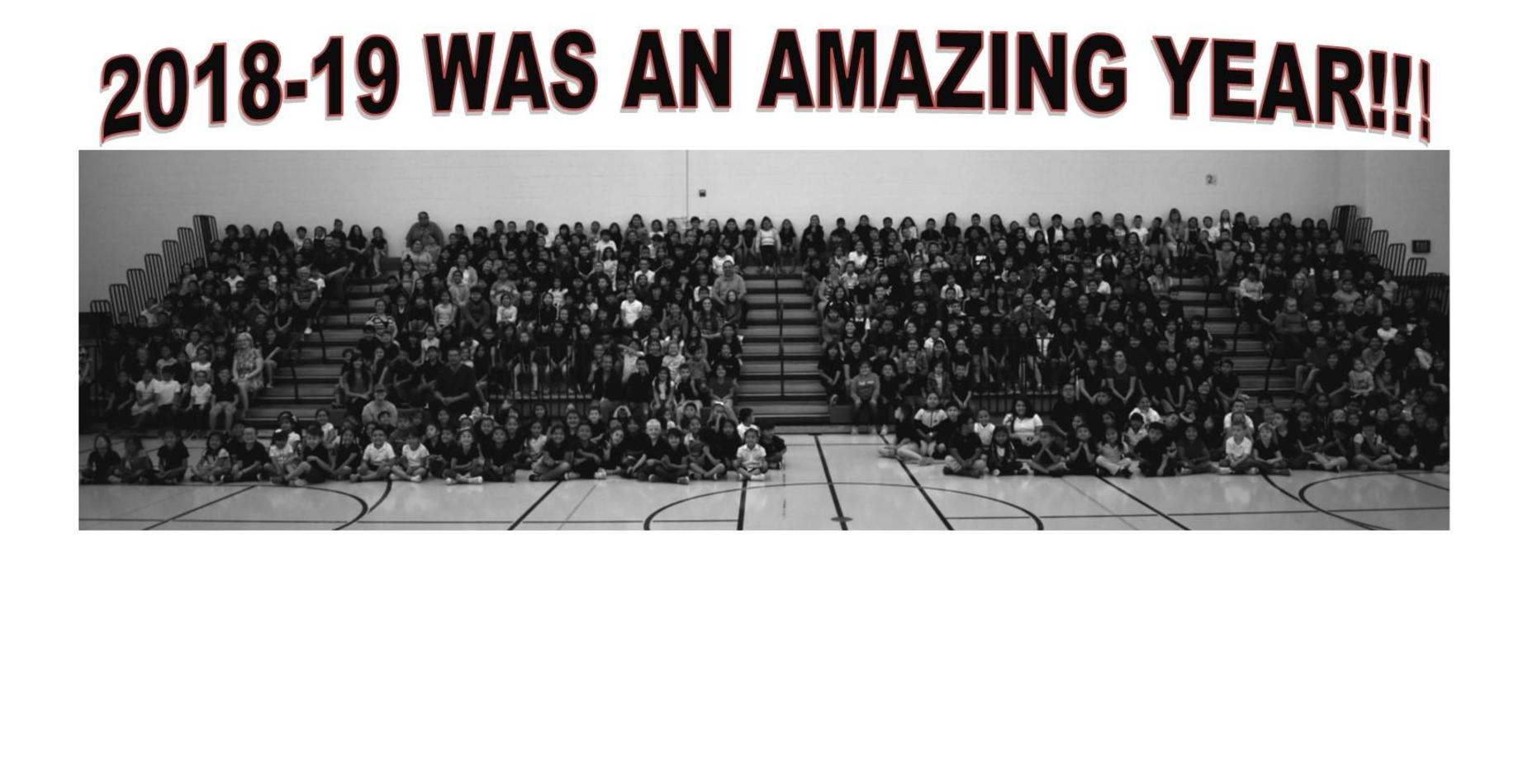A picture with all the students from Roosevelt Elementary in the gym, sittitng in the bleachers.