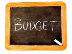 Budget spelled on a blackboard