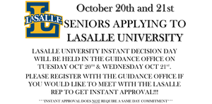 Attention Seniors Applying to LaSalle University