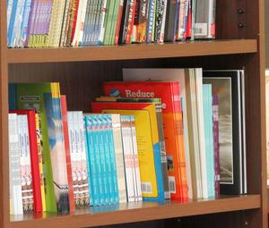 A close-up of two shelves of a book shelf, neatly and efficiently lined with children's books