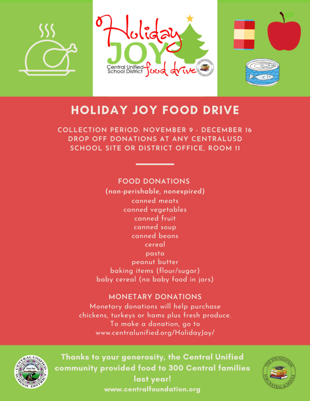 Holiday Joy Donation Flyer