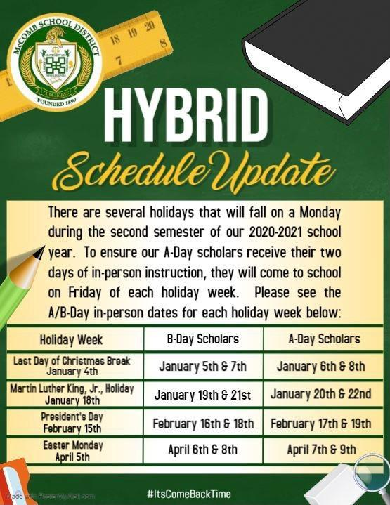 McComb School District Hybrid Schedule Update 2020-2021