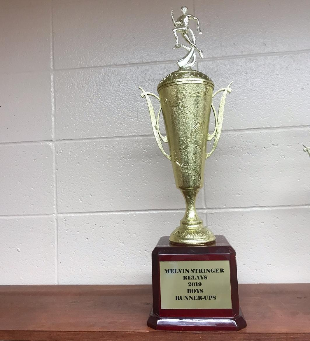 BHS Boys Track Team Trophy from win at Melvin Stringer Relays