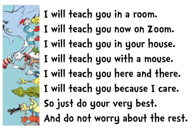 Picture of a Dr. Seuss poem about learning