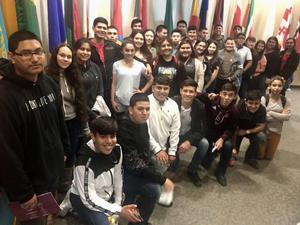 Mission High School students during their visit to TAMIU in Laredo.
