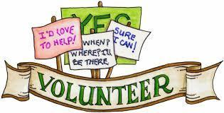 Signs that say: I'd love to to help and volunteer and When? Where? I'll be there! and another sign that says: Sure I can!
